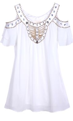 White Off the Shoulder Bead Rhinestone Chiffon Dress