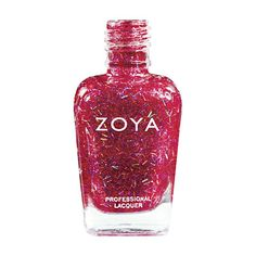 Zoya Kissy Nail Polish | Kissy by Zoya can be best described as a red bar glitter shade combined with red, pink, purple and hologram particles. A glitzy shade that can be worn alone or layered to add sparkle to your manicure. | Special Effect | Intensity: 3