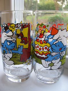 Vintage Smurf glasses - I like to buy these type of glasses whenever I see them