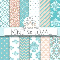 """Mint digital paper: """"MINT AND CORAL"""" with mint and coral background, damask, chevron, quatrefoil for scrapbooking, cards, invitations"""
