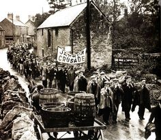 The Jarrow marchers pass through Lavendon on  their way to protest  in London over unemployment - 28 October 1936