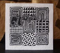 Black & white African textile motifs. Set of three  folded art cards.  5.1inchx13cm/5.1inchx13cm with envelope. $12.75, via Etsy.