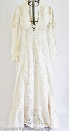 White Crotchet Laced Peasant Wedding Dress // Renascence Revival. $180.00, via Etsy.