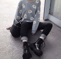Top: sweater, grey sweater, egg, grunge sweater, shirt, tumblr, soft grunge, pale grunge, grunge, grey, grey and white, black, black and white, egg, yellow, white, shoes, sweatshirt, jumpsuit, kawaii, pastel goth - Wheretoget