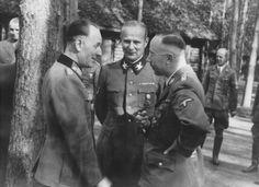 1942 at Führerhauptquartier Rautenberg, East Prussia, Generalmajor Rudolf Schmundt, SS-Obergruppenführer und General der Waffen-SS Karl Wolff , Reichsführer-SS Heinrich Himmler.  Generalmajor Rudolf Schmundt is a very close confidant to Hitler and he influenced a lot of the personnel matters for Hitler.