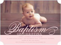 Flourishing Font - Baptism, Christening Invitations - Ann Kelle - Blush - Pink : Front