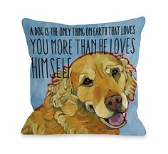Doggy Décor More Than He Loves Himself Throw Pillow