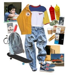 """""""Elio Perlman"""" by nadyaarw ❤ liked on Polyvore featuring Levi's, New Balance and WithChic"""