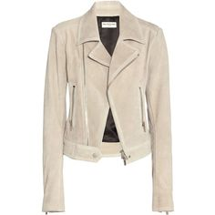 Balenciaga Suede Biker Jacket (91,800 THB) ❤ liked on Polyvore featuring outerwear, jackets, coats & jackets, balenciaga, coats, neutrals, pink biker jacket, suede moto jacket, biker jacket and pink jacket