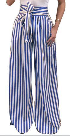 2e5f1f03e7 Nrthye Womens Fashion High Waist Striped Wide Leg Pants with Belt Casual  Loose Long Trousers >