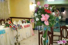 Aranjament floral pentru botez la Restaurant President