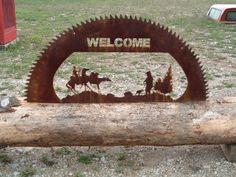 "48"" custom cut old sawmill blade - Welcome sign. www.custommetaldesigns.webs.com"