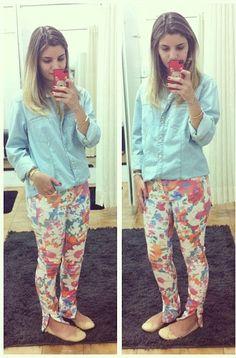 camisa jeans + calça estampada *-*