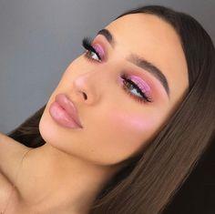 Pink Makeup, Cute Makeup, Glam Makeup, Pretty Makeup, Makeup Inspo, Makeup Inspiration, Beauty Makeup, Hair Makeup, Pink Highlighter Makeup