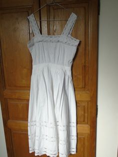 Fabulous, French nightdress made in cotton and hand made lace.  Back buttoned bodice with lace straps and inserts.