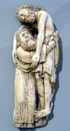 V&A New Medieval Galleries - Morse ivory fragment with the Deposition, c. 1190-1200, probably York