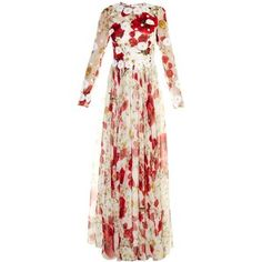 Dolce & Gabbana Daisy-appliqué poppy-print silk-chiffon gown