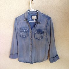 Distressed Denim Button Up Good condition. Forever 21 Tops Button Down Shirts