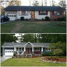 Before After home renovation. A covered porch adds curb appeal. Check out more … Before After home renovation. A covered porch adds curb appeal. Ranch Exterior, Exterior Remodel, Ranch House Exteriors, Ranch House Landscaping, Yard Landscaping, Landscaping Ideas, Backyard Ideas, Renovation Facade, Farmhouse Renovation