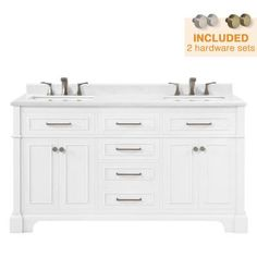 Home Decorators Collection Melpark 60 in. W x 22 in. D Bath Vanity in Dove Grey with a Cultured Marble Vanity Top in White with White Sink Melpark - The Home Depot Bathroom Vanity Base, Double Sink Bathroom, Small Bathroom, Master Bathroom, White Vanity, White Sink, Cultured Marble Vanity Tops, Granite Vanity Tops, Powder Room Decor
