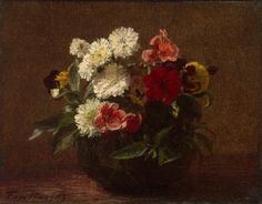 Flowers in an Earthenware Vase - Henri Fantin-Latour | Flowers Paintings, State Hermitage Museum