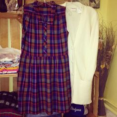 70's flannel mini + 80's cardi