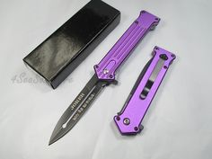 Tac Force Assisted Opening Rescue Tactical Pocket Folding Silver Spear Headed Stainless Stteel Blade Why so Serious? Knife Outdoor Survival Camping Hunting - Purple >>> Check out this great image  : Hiking gear