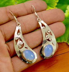 Natural Chalcedony Gemstone 925 Silver Plated Cutwork Earrings Jewelry KEB158 #krsnajewels #Hook