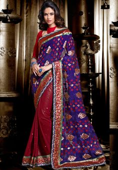 Desginer Saree Blue And Maroon #Georgette And #Jacquard Saree With Blouse   INR:-4350 With Exciting 25% Discount!