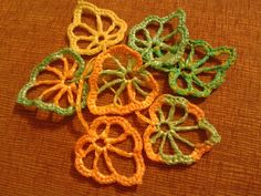 autumn leaves crocheted from plastic bags by Lucy286