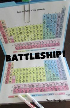 Periodic Table Battleship Game Edit this. Instead use the specific elements and formulas the kids need to know. What a chemistry activity for kids? Learn the Periodic Table of Elements with kids in a fun way by playing the Periodic Table Battleship game! Kid Science, 8th Grade Science, Middle School Science, Science Lessons, Science Activities, Science Projects, Science Ideas, Science Experiments, Apologia Physical Science