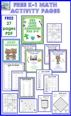 free math activity pages for K-1 based on similar activities seen in a kindergarten class with only 10 students in a charter school