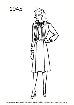 1945 Fashion history dress silhouette