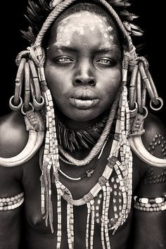 A Mursi girl from Mago National Park in the Omo valley of Ethiopia.  I Love Africa, your personal travel planner, www.ilove-Africa.com