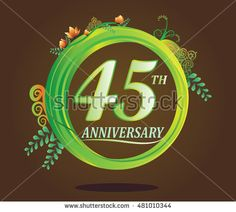 45th anniversary logo with floral ornament, flower and leaf