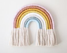 Macrame wall hanging diy weaving wall hanging tree wall decor nursery wall decor yarn crafts diy crafts yarn wall art hair accessories storage rainbow wall big size hand wrapped rainbow wall hanging decorative for nursery… Rainbow Nursery, Rainbow Wall, Deco Kids, Crochet Diy, Yarn Wall Hanging, Wall Hangings, Arts And Crafts, Diy Crafts, Yarn Crafts