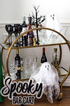 Host A Spooktacular Halloween Dinner Party Home Decor Bar Cart Adult Halloween Party, Halloween Dinner, Halloween Drinks, Halloween Cakes, Halloween Party Decor, Spooky Halloween, Halloween Ideas, Happy Halloween, Bar Cart Styling