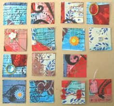 large cardstock or wc paper; paint, collage, stamp, cut into inchies and embellish