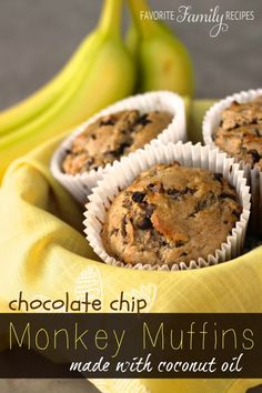 I immediately fell in love with these chocolate chip monkey muffins, and then fell even harder when I found out that they are made with coconut oil!