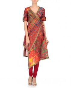 Expressionist Multicoloured Silk Tie Dyed Angrakha Kurti