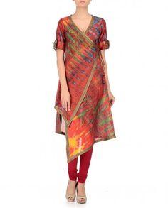 Expressionist Multicoloured Silk Tie Dyed Angrakha Kurti