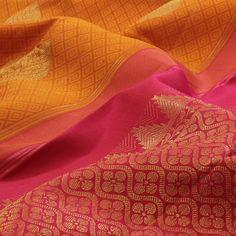 Beautiful mix of sari patterns on a silk sari from Sarangi, the Kanjivaram sari store Kanjivaram Sarees, Kanchipuram Saree, Soft Silk Sarees, Cotton Saree, Indian Wedding Outfits, Indian Outfits, Indian Attire, Indian Wear, Saree Jewellery