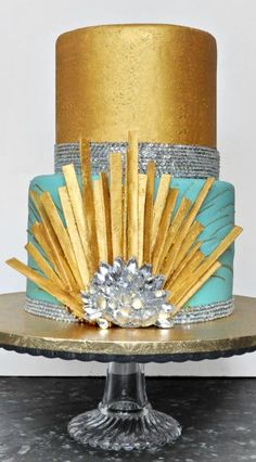 Gold and Mint Great Gatsby Cake