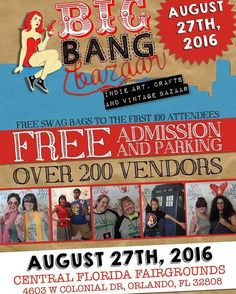 Hey! I've been mentioning the Big Bang Bazaar lately and it's coming up! This Saturday as a matter of fact. So if you're in the Orlando area come on down! Not just because I'm sharing a booth with the awesomely rad Knit At The Bar (although hello that's a darn good reason!) but because you love nerdy things and this craft show is going to be chock full of them! Big Bang Bazaar will be at the Central Florida Fairgrounds & Exposition Park (4603 W Colonial Dr Orlando FL 3280