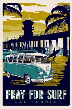 pray for surf california vintage retro surf by RetroScreenprints