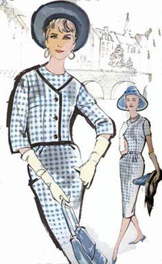 1960アドバンス9548レディースMODスリムスーツスカートとジャケットヴィンテージ60年代の縫製パターンサイズ20バスト40