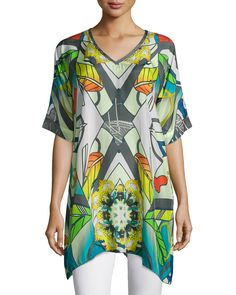Half-Sleeve Overlay Printed Tunic, Plus Size, Multi - Johnny Was Collection