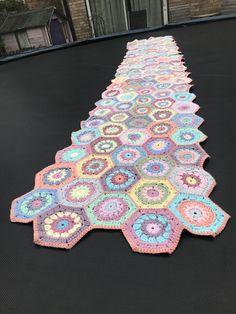Hexagon Pattern by King Cole Cottonsoft yarn. Hexagon Pattern, King Cole, Blanket, Crochet, How To Make, Handmade, Crocheting, Hand Made, Blankets