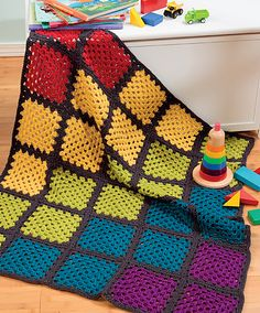 rainbow granny square afghan
