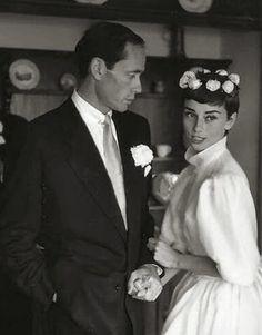 Audrey Hepburn and Mel Ferrer on their wedding day in Bürgenstock, Switzerland, September 25, 1954